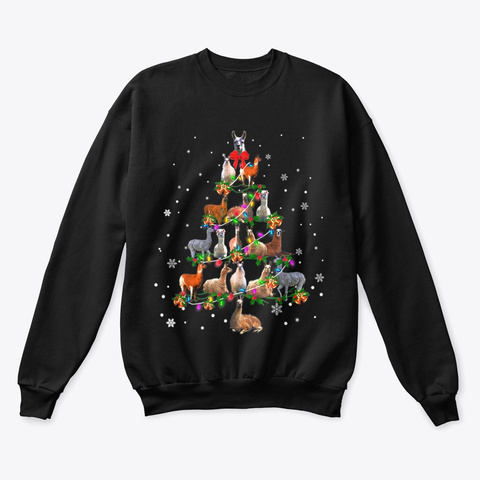 Cute Llama Christmas Tree Gift Black T-Shirt Front