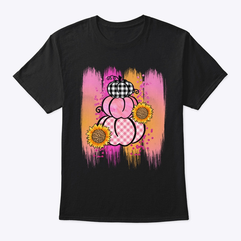Cute Pumpkin Pink Breast Cancer October  Black T-Shirt Front