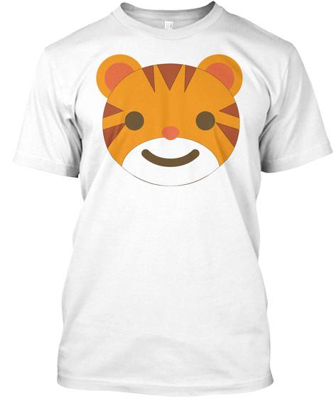 Tiger Emoji Happy Smiling Face White T-Shirt Front