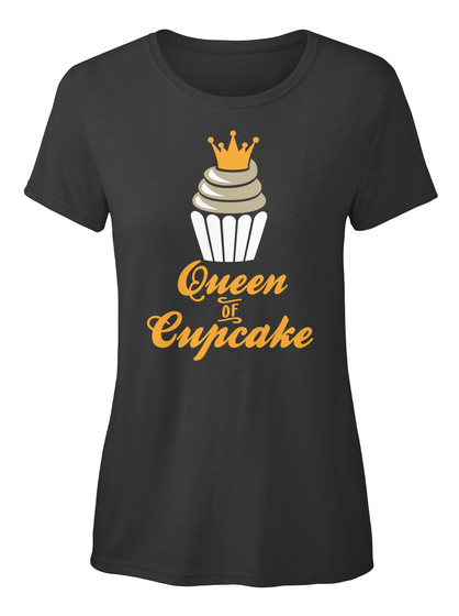 Queen Of Cupcake Black T-Shirt Front