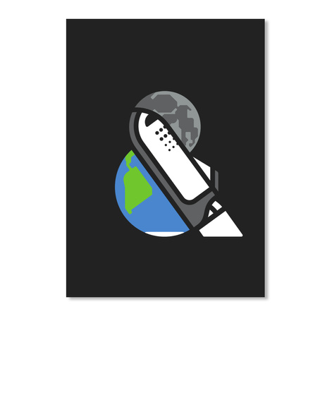 Earth And Moon Sticker [Int] #Sfsf Black Sticker Front