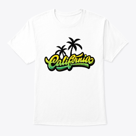 California Palm Trees White T-Shirt Front