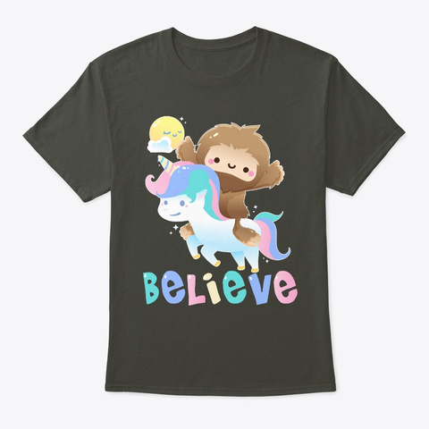 Bigfoot Unicorn Believe Smoke Gray T-Shirt Front