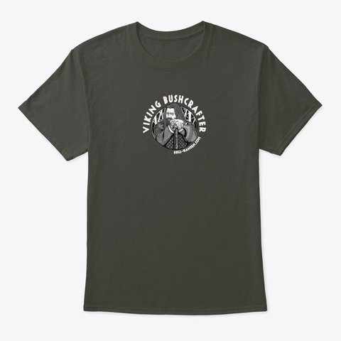 Viking Bushcrafter Drawing Smoke Gray Camiseta Front