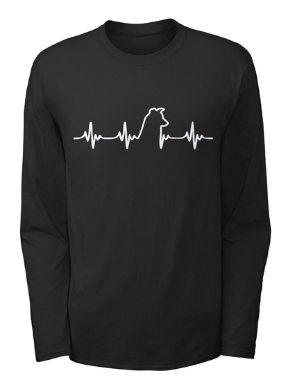 Border Collie Heartbeat Black Long Sleeve T-Shirt Front