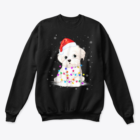 Maltese With Christmas Lights Shirt Black T-Shirt Front