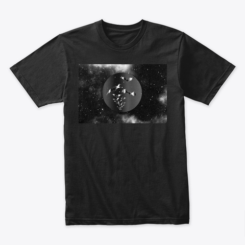 Silver Bats In Dark Outer Space Black T-Shirt Front