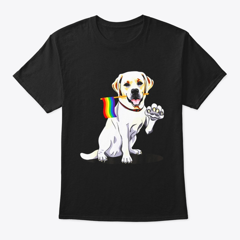 Gay Pride Flag Retrievers Labrador Shirt Black T-Shirt Front