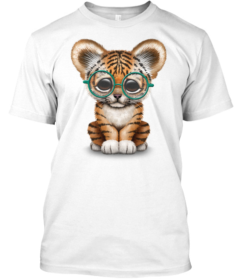 Cute Baby Tiger Cub Wearing Glasses White T-Shirt Front