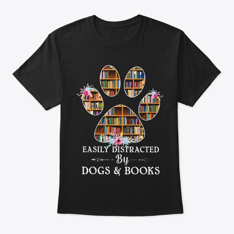Dogs Books Black T-Shirt Front