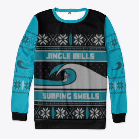 Surfing Ugly Christmas Design Black T-Shirt Front