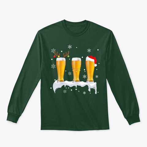 Reindeer Beer Christmas Funny Gift Shirt Forest Green T-Shirt Front