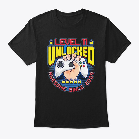 Level 11 Unlocked Awesome 2009 Boys 11th Black T-Shirt Front