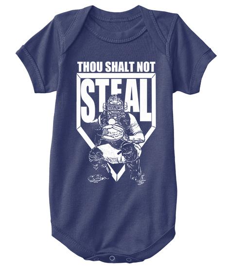 Thou Shalt Not Steal Navy  T-Shirt Front
