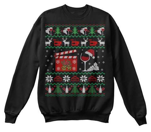 Wine Movies Ugly Christmas Sweater Gifts Jet Black T-Shirt Front