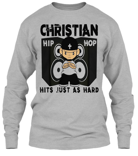 Christian Hip + Hop Hits Just As Hard Sport Grey T-Shirt Front