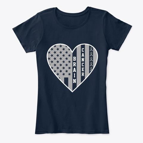 Brain Cancer Ribbon Flag Heart  New Navy T-Shirt Front