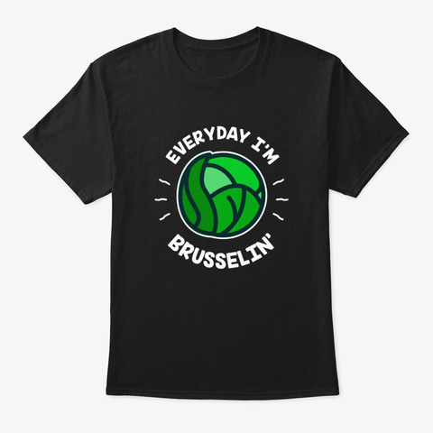 Vegetarian Vegan Brussels Sprouts Black T-Shirt Front