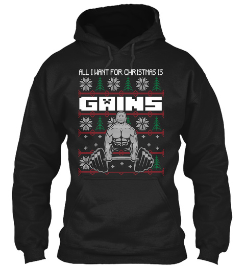 All I Want For Christmas Is Gains Black T-Shirt Front