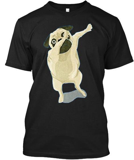 Dabbing Pug Cute Funny Black T-Shirt Front