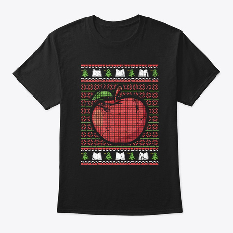 Funny Distressed Red Big Apple Teacher C Black T-Shirt Front