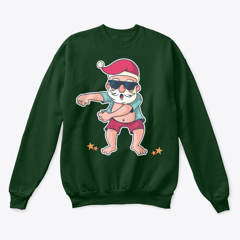Christmas Flossing Santa Deep Forest  T-Shirt Front