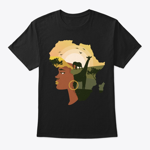 Black Girl Gift With Beautiful Landscape Black T-Shirt Front