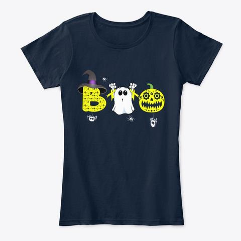 Boo Childhood Cancer Awareness Halloween New Navy T-Shirt Front
