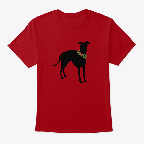 Italian Greyhound Holiday Design Deep Red T-Shirt Front