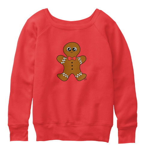 Cute Christmas Gingerbread Man Sweater Red T-Shirt Front