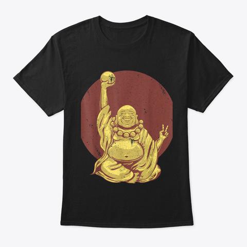 Happy Buddha Namaste Spirituality Yoga B Black T-Shirt Front