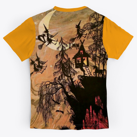 Awesome Witch Shirt For Halloween Day Orange T-Shirt Back