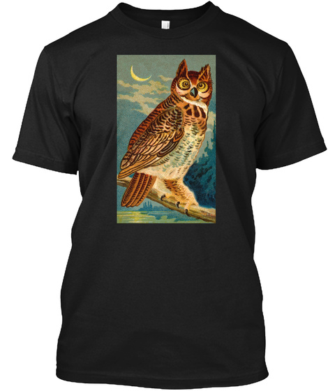 Great Horned Owl Shirt, Nocturnal Bird Black T-Shirt Front