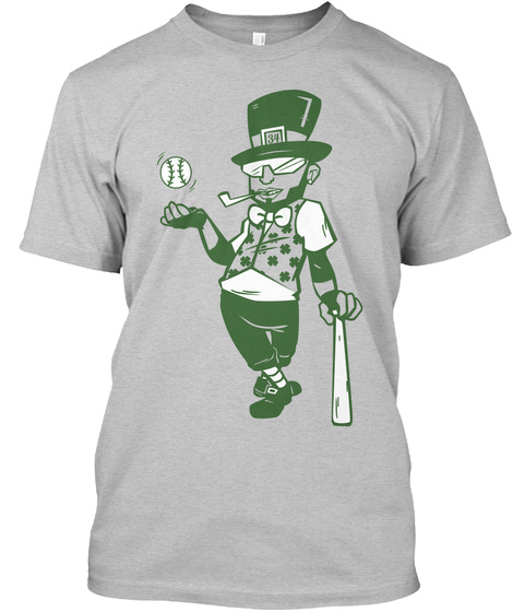 Big Lucky   David Ortiz Children's Fund For St. Patrick's Day  Light Heather Grey  T-Shirt Front