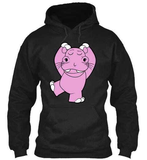 Yoga Hippo Pilates Meditation Fitness Es Black T-Shirt Front