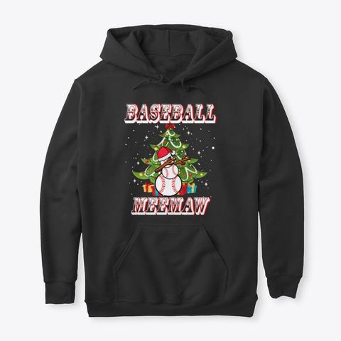 Christmas Baseball Meemaw Snowman Shirt Black T-Shirt Front