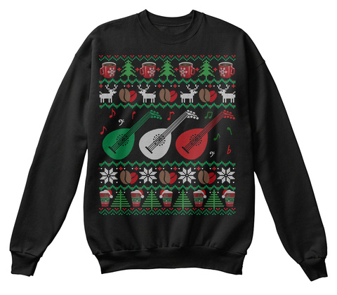 Coffee Lute Ugly Christmas Sweater Gifts Jet Black T-Shirt Front