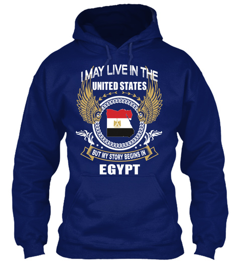 I May Live In The United States But My Story Begins In Egypt Oxford Navy T-Shirt Front