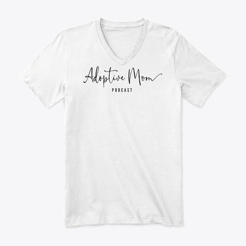 Black Logo V Neck White T-Shirt Front
