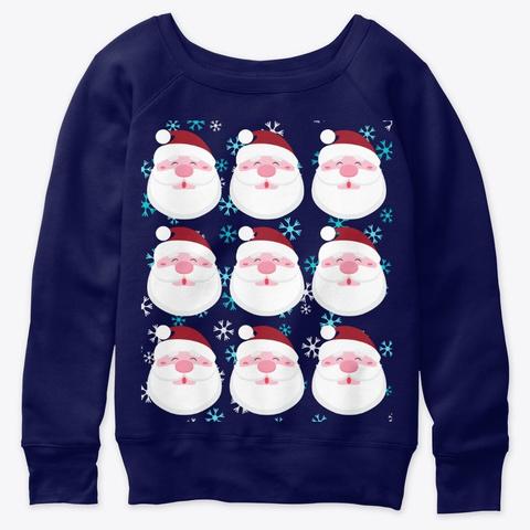 Santa Christmask Holiday Design Navy  T-Shirt Front