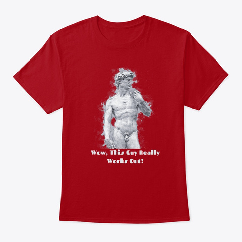 Michelangelo's  David  Naked Statue Deep Red T-Shirt Front