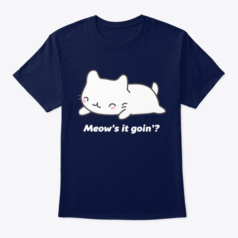 Funny Cat Pun Navy T-Shirt Front