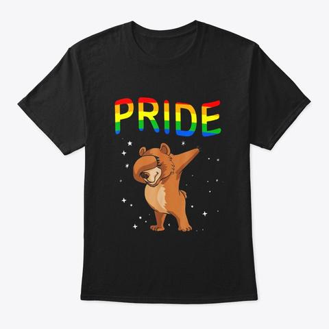 Dabbing Bear Pride Shirt Lgbt Pride Gift Black T-Shirt Front