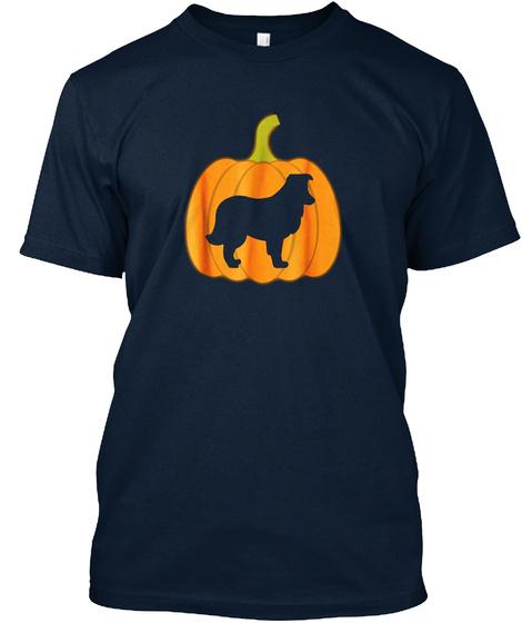 Pumpkin Lantern Sheltie Shirt Halloween New Navy T-Shirt Front