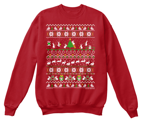 Bunny Christmas Sweater Deep Red  Maglietta Front