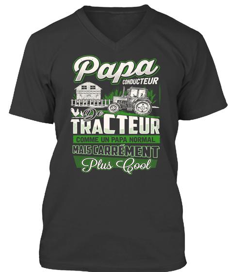 Tracteur  Papa ! Black T-Shirt Front