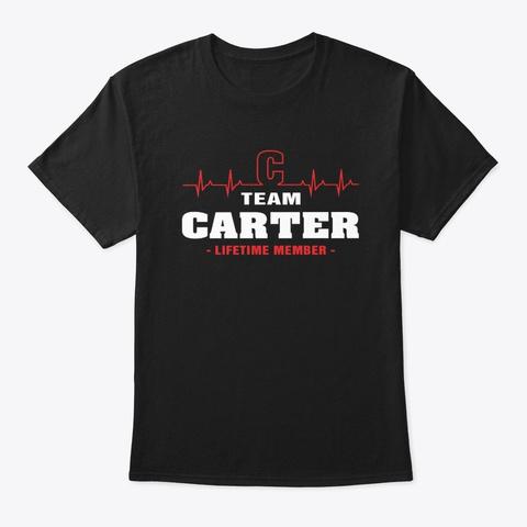Team Carter Lifetime Member T Shirts. Black T-Shirt Front