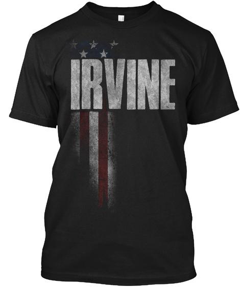 Irvine Family American Flag Black T-Shirt Front