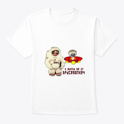 Space Monkey White T-Shirt Front