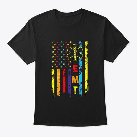 Rainbow American Flag T Shirt Emt Pride Black T-Shirt Front